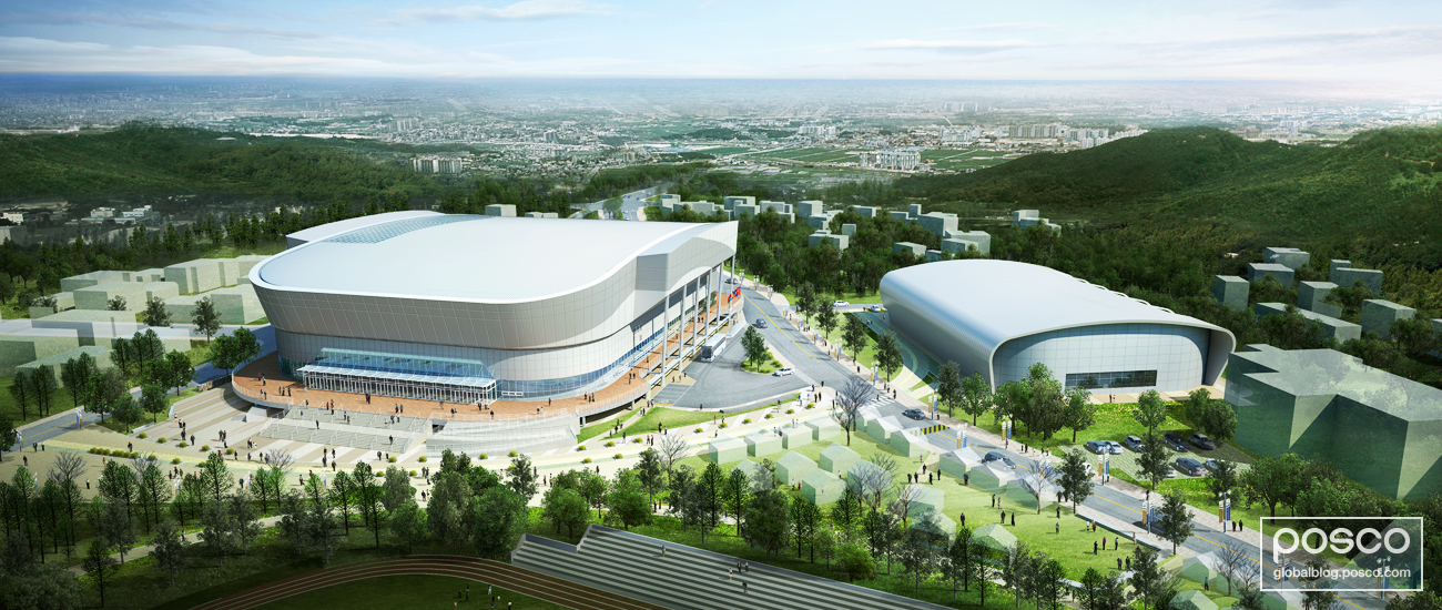 POSCO's 329LD steel was applied to the exterior of the recently-built Kwandong Hockey Centre in Gangneung, Korea.