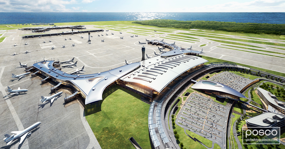 A bird's-eye view of the second passenger terminal at Incheon International Airport. Because of its non-corrosive properties and stylish appearance, POSCO's 446M steel will be used as an exterior material.