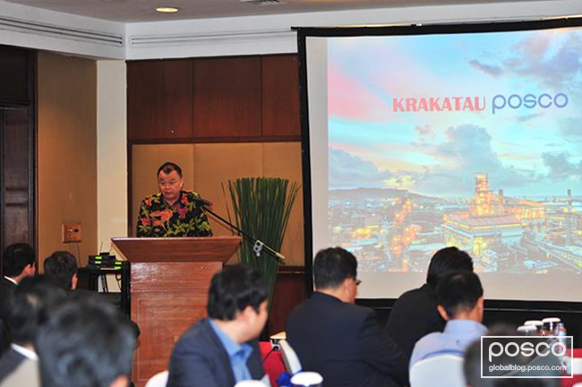 Kyung-joon Min, head of PT Krakatau POSCO, delivers his opening speech before kicking off the event.