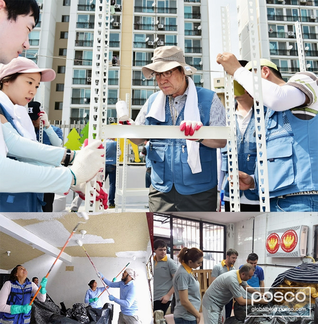 This photo shows POSCO CEO Ohjoon Kwon volunteering from last year's Global Volunteer Week.