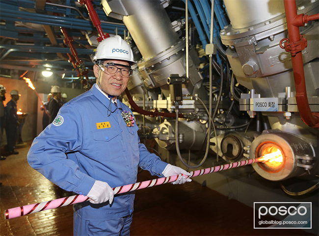 POSCO CEO Kwon Ohjoonis seen carrying out the blowing-in process for Pohang Blast Furnace No. 3 at the ceremony held on June 6 in Pohang, Korea