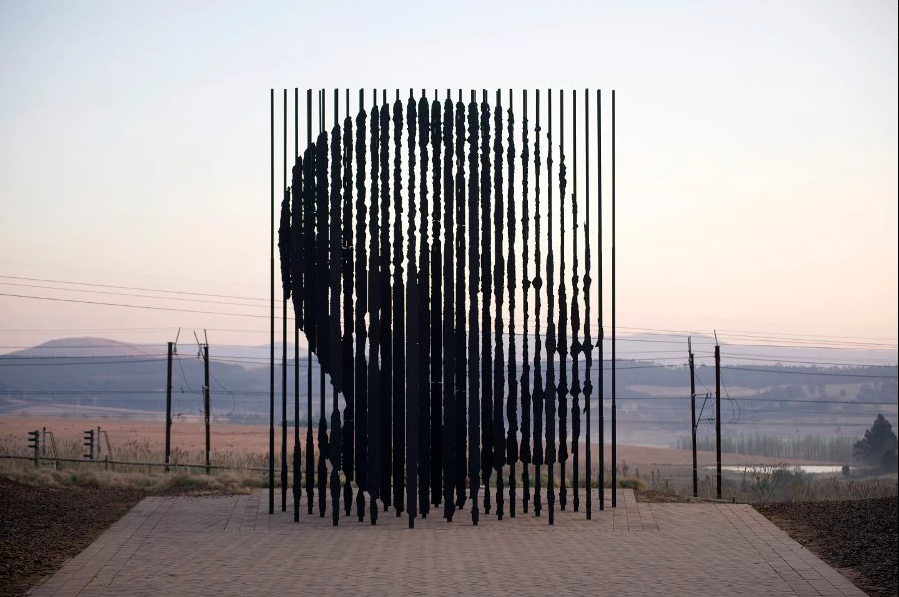 Marco Cianfanelli's sculpture of 50 columns of steel stand at the Nelson Mandela Capture Site in South Africa