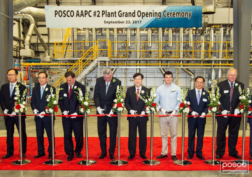 From third on the left to right stand Economic and Redevelopment Director Rob Waiz, Governor Eric Holcomb, POSCO CEO Ohjoon Kwon, Representative Trey Hollingsworth and the Consul General in Chicago, Jong-guk Lee for the opening ceremony