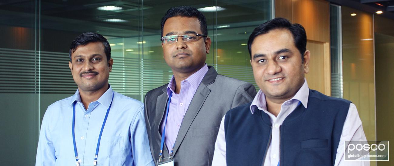 Ajay Telrandhe in Quality Assurance and Manish Kochar & Chetan Waghchoure in Sales from POSCO Maharashtra.