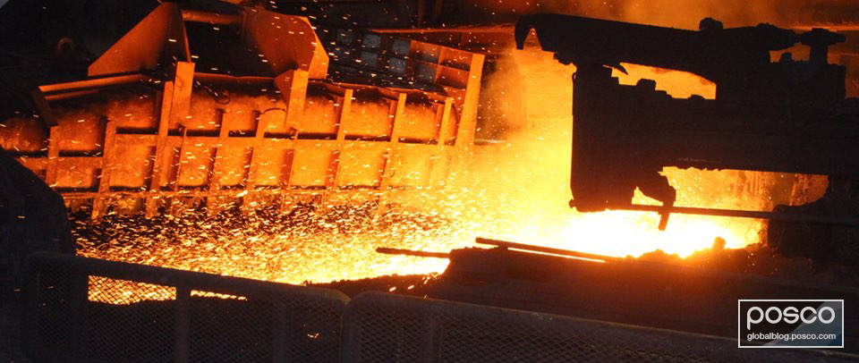 Hot molten iron coming out of the FINEX technology plant.